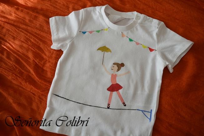camiseta pintada a mano bailarina