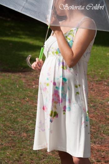 vestido premama confeccionado y pintado a mano